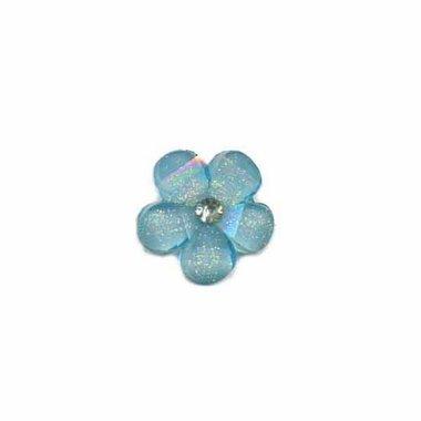 Flatback licht blauw bloem met 'kristalletje/strass' 17 mm (10 stuks)