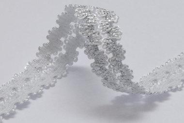 Elastisch band wit met zilver 15 mm (ca. 10 m)