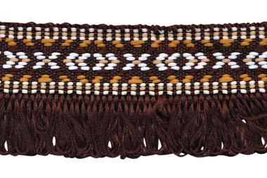 Donker bruin franjeband aztec-stijl 35 mm (ca. 5 m)