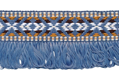 Lavendel/blauw franjeband aztec-stijl 35 mm (ca. 5 m)
