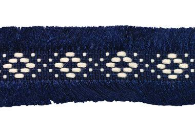 Donker blauw 2-zijdig franjeband aztec-stijl 30 mm (ca. 5 m)