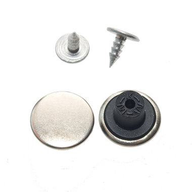Jeans knoop zilverkleurig GLAD 15 mm (ca. 100 stuks)