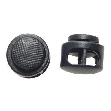 Koordstopper rond met 2 gaten zwart (ca. 25 stuks)