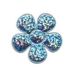 Applicatie glitter bloem licht blauw middel 35 mm (ca. 25 stuks)