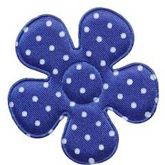 Applicatie bloem kobalt blauw met witte stippen satijn groot 45 mm (25 stuks)