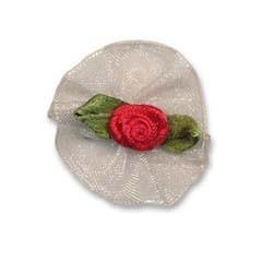 Roosje satijn rood op wit organza blad 30 mm (10 stuks)