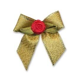 Gouden strik met rood roosje op blad (25 stuks)