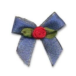 Blauwe strik met rood roosje op blad (25 stuks)