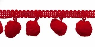 Pompom band rood 20 mm (ca. 16 meter)