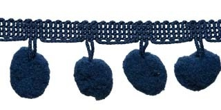 Pompom band donker blauw 20 mm (ca. 16 meter)