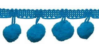 Pompom band petrol 20 mm (ca. 16 meter)
