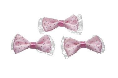 Strik roze satijn met stip en wit kant onder (10 stuks)