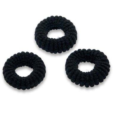 Badstof haarelastiek zwart (ca. 25 stuks)