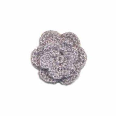 Gehaakt roosje grijs 25 mm (10 stuks)