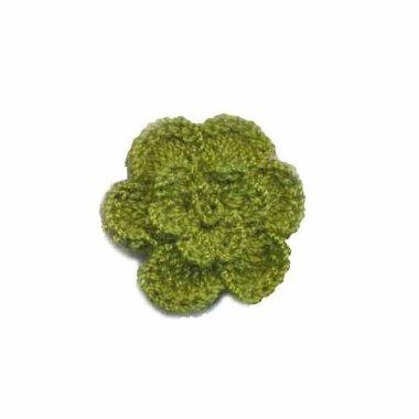 Gehaakt roosje legergroen 25 mm (10 stuks)