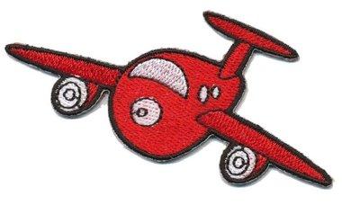 Opstrijkbare applicatie vliegtuig rood (5 stuks)