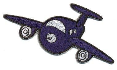 Opstrijkbare applicatie vliegtuig donker blauw (5 stuks)