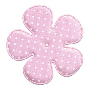 Applicatie bloem roze met witte stippen satijn EXTRA GROOT 65 mm (ca. 100 stuks)