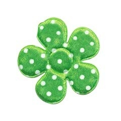 Applicatie bloem NEON groen met witte stippen satijn middel 35 mm (ca. 100 stuks)
