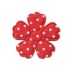 Applicatie bloem klaverblaadje rood met witte stippen satijn middel 35 mm (ca. 25 stuks)
