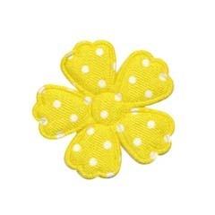 Applicatie bloem klaverblaadje geel met witte stippen satijn middel 35 mm (ca. 25 stuks)