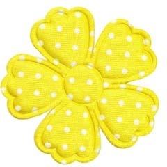 Applicatie bloem klaverblaadje geel met witte stippen satijn groot 45 mm (25 stuks)