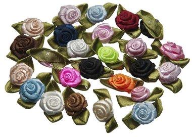Roosjes satijn op blad 15 x 25 mm MIX autumn (ca. 25 stuks)