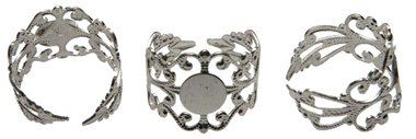 Verstelbare ring 17-20 mm filigraan zilverkleurig met plakschijfje (ca. 25 stuks)