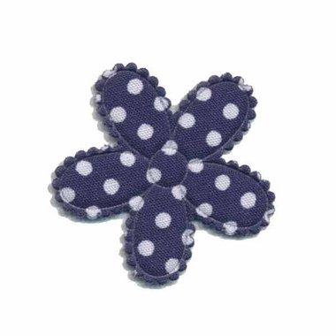 Applicatie bloem donker blauw met witte stippen katoen middel 30 mm (ca. 25 stuks)