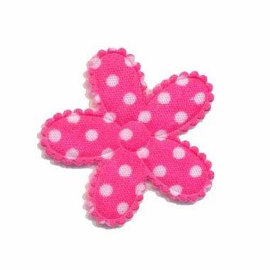 Applicatie bloem knal roze met witte stippen katoen middel 30 mm (ca. 25 stuks)