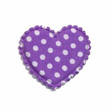 Applicatie hart paars met witte stippen katoen middel 35 x 30 mm (ca. 25 stuks)
