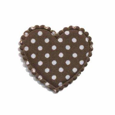 Applicatie hart bruin met witte stippen katoen middel 35 x 30 mm (ca. 25 stuks)