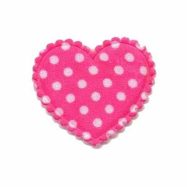 Applicatie hart knalroze met witte stippen katoen middel 35 x 30 mm (ca. 25 stuks)