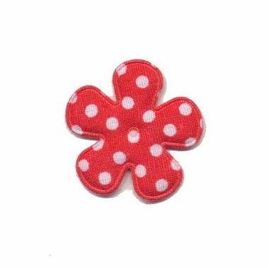Applicatie bloem rood met witte stippen katoen klein 25 mm (ca. 25 stuks)