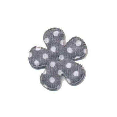 Applicatie bloem grijs met witte stippen katoen klein 25 mm (ca. 25 stuks)