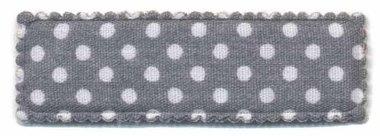 Haarkniphoesje grijs met witte stip / polkadot 5 cm rechthoekig (ca. 100 stuks)