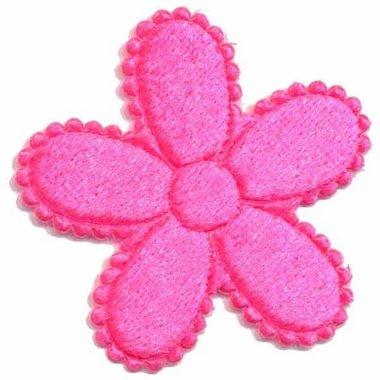 Applicatie bloem knalroze fluweel groot  45 mm (25 stuks)