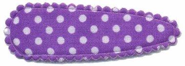 Haarkniphoesje paars met witte stip / polkadot 5 cm (ca. 100 stuks)