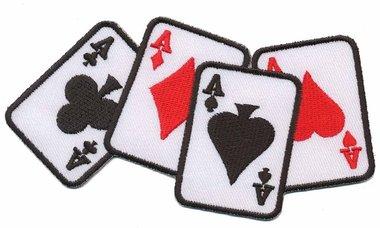 Opstrijkbare applicatie 4 azen rood/wit/zwart (5 stuks)