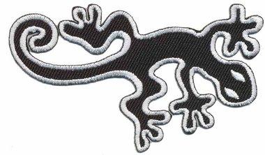Opstrijkbare applicatie gecko zwart wit (5 stuks)