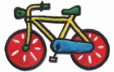 Opstrijkbare applicatie fiets geel met rode wielen (5 stuks)