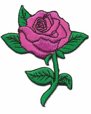 Opstrijkbare applicatie roos roze (5 stuks)