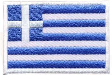 Opstrijkbare applicatie Griekse vlag (5 stuks)