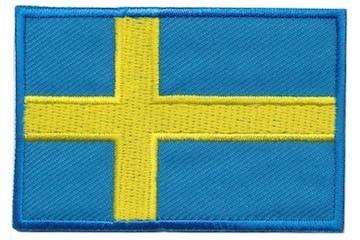 Opstrijkbare applicatie Zweedse vlag (5 stuks)