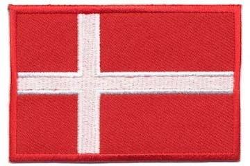 Opstrijkbare applicatie Deense vlag (5 stuks)