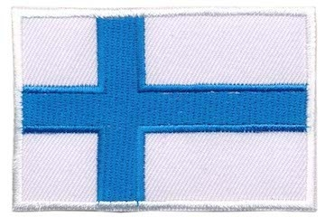 Opstrijkbare applicatie Finse vlag (5 stuks)