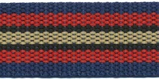 Tassenband 30 mm streep donker blauw/rood/zwart/zand STEVIG (ca. 5 m)