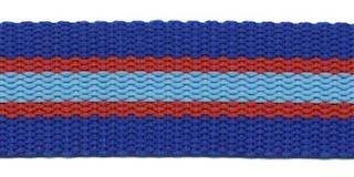 Tassenband 25 mm streep kobalt blauw/rood/licht blauw STEVIG (ca. 5 m)