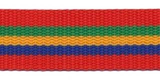 Tassenband 25 mm streep rood/groen/geel/blauw STEVIG (ca. 5 m)