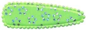 Haarkniphoesje satijn groen met zilveren bloemetje 5 cm (ca. 100 stuks)